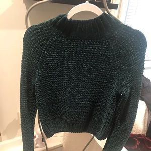 Deep green mock turtleneck sweater